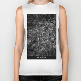 Prague Black Map Biker Tank