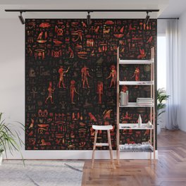 Ancient Egyptian Gods and hieroglyphs - Red Marble Wall Mural
