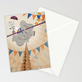 Elephant on tightrope Stationery Cards