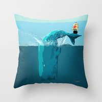 moby Throw Pillows featuring moby  by mark ashkenazi