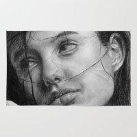 angelina jolie Area & Throw Rugs featuring Angelina Jolie Traditional Portrait Print by bianca.ferrando