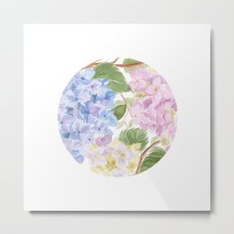 Watercolour hydrangea circle Metal Print