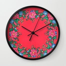 Traditional folk painting pattern Wall Clock