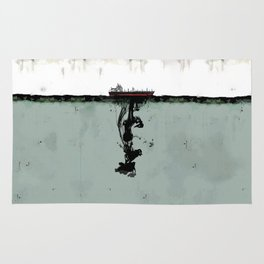 Ship boat oil spill sea Rug