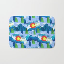Watercolor Colorado mountains, trees and flag Light Blue Bath Mat
