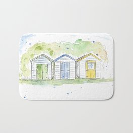 Bright beach huts Bath Mat