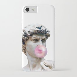Marble sculpture Art, statue of David blowing pink gum iPhone Case