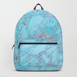 Aqua, Ocean Blue Marble & Silver Glitter Marble Backpack
