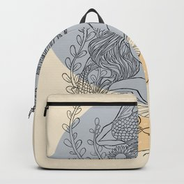 Young beauty under water, minimalist line art woman fish drawing, female vintage poster Backpack