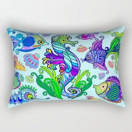 Marine Life Exotic Fishes & SeaHorses Ornamental Style Rectangular Pillow