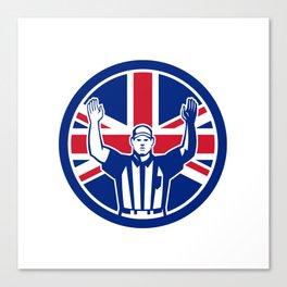 British American Football Referee Union Jack Flag Icon Canvas Print