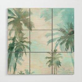 Aqua Blue Watercolor Palm Trees Wood Wall Art