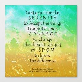 Serenity Prayer Green Gold Sunrise Canvas Print