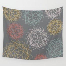 Dark Pastel Origami Blooms Wall Tapestry