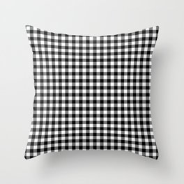Gingham Black and White Pattern Throw Pillow
