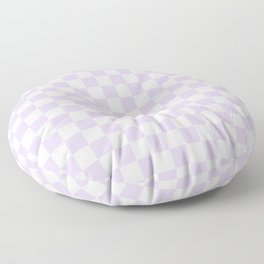 White and Pale Lavender Violet Checkerboard Floor Pillow