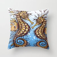 seahorse Throw Pillows featuring Seahorse by TAOJB