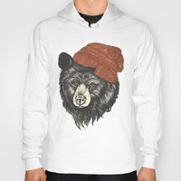 fabric Hoodies featuring zissou the bear by Laura Graves