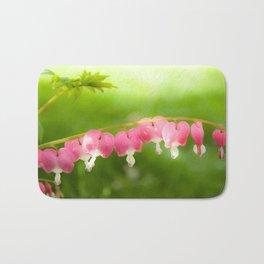 My Heart on a String.  Bleeding Heart Flower Photo.  Pink. Bath Mat