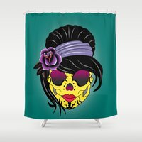 sugar skull Shower Curtains featuring SUGAR SKULL by mark ashkenazi