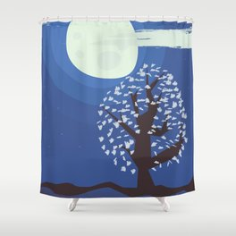 Tree in the moonlight Shower Curtain