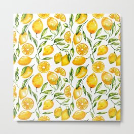 lemon watercolor print Metal Print