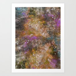 A galactic ocean -Orange- Cosmic Painting Art Art Print