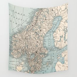 Vintage Map of Norway and Sweden (1893) Wall Tapestry
