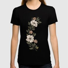 Floral Laurel X-LARGE Black Womens Fitted Tee