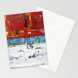Folly Bright Red White Modern Art Abstract Painting Stationery Cards
