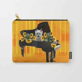 Piano with sunflowers and white Fox Terrier Carry-All Pouch