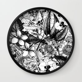Black And White Tropical Flower Pattern Wall Clock
