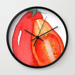 red grape tomato Wall Clock