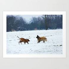 Lets play - Dogs in the snow Art Print