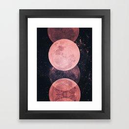 Pink Moon Phases Framed Art Print