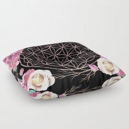Flower of Life Rose Gold Garden on Black Floor Pillow