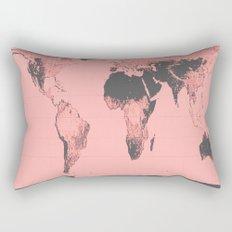 World Map: Gall Peters Pink Rectangular Pillow
