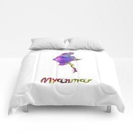 Myanmar in watercolor Comforters
