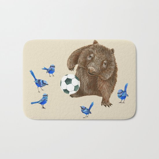 Blue wrens Wombat Football Bath Mat