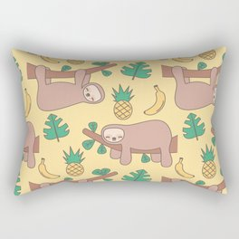 cute cartoon sloth seamless pattern background with exotic leaves, pineapples and bananas Rectangular Pillow