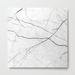 preppy minimalist modern chic grey white marble Metal Print