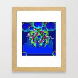 BLUE PEACOCKS & PURPLE MORNING GLORIES Framed Art Print