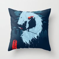 kodama Throw Pillows featuring Hime by Sergio Mancinelli