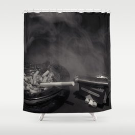Cigarette Smoke Black and White Photo Shower Curtain