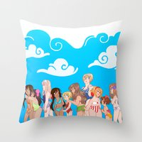 hetalia Throw Pillows featuring Hetalia Girls by kitkatkatee
