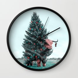 Christmas Yak - Julien Tabet - Photoshop Artwork Wall Clock