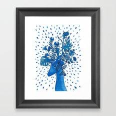 Flowery fawn Framed Art Print