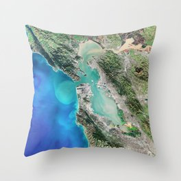San Francisco California USA - High resolution satellite view of Earth from Space - Color Throw Pillow
