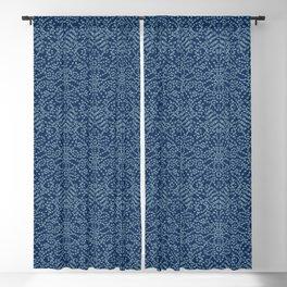 Floral Motif Sashiko Style Japanese Needlework Blackout Curtain