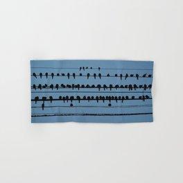birds on a wire feeling blue Hand & Bath Towel